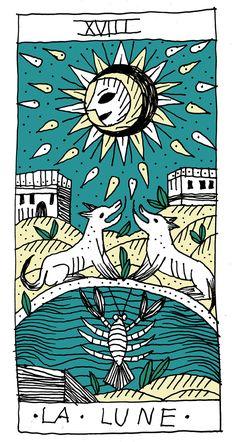tarmasz Tarot Tattoo, The Moon Tarot, Divination Cards, Art Carte, Tarot Astrology, Pagan Art, Tarot Major Arcana, Oracle Tarot, Tarot Learning
