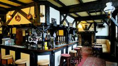 Old world bar. Love the exposed timbers.