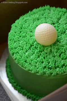 Green enough for St. Patrick's Day! Golf Ball Cake - chocolate cake with cherries jubilee filling