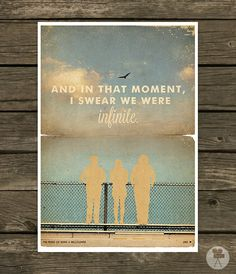The Perks of Being a Wallflower Poster - Vintage Style Magazine Print movie quotes Cinema Studio Watercolor Background - on Etsy!