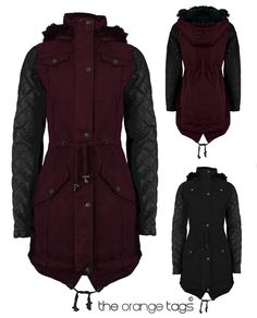 Hautie womens faux fur hooded fishtail ladies parka jacket ...