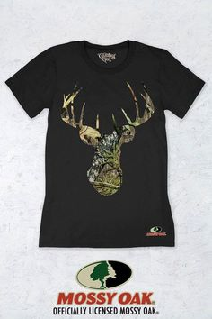 Women's Country Girl® Mossy Oak Obsession Original Deer Head Tee | Our women's fit crew neck short sleeve tee is made with super-soft ring spun jersey fabric. This classic top has a semi-contoured silhouette for a fashion look. This garment is preshrunk for minimal shrinkage.  • 100% cotton  • Semi-contoured fit yet relaxed enough to be flattering for most body types