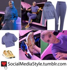 outlet store 9e7bf 21a15 Kylie Jenners adidas Raw Indigo Coeeze Hoodie, Crop Top, and Sweatpants  and Gold Falcon Sneakers