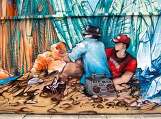 """Mural in Shoreditch that pays tribute to Adam """"MCA"""" Yauch of Beastie Boys. It's part of a larger mural by Jim """"Probs"""" Vision that is an homage to the late French artist Jean Giraud aka Moebius."""