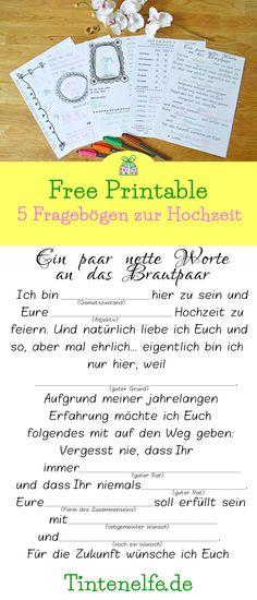 Hochzeit Fragebögen Frei Download Freebie Printable Gästebuch
