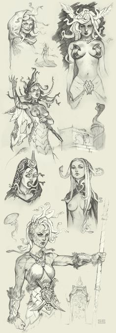 Medusa sketches by Scebiqu.deviantart.com on @DeviantArt This sketch will be relevant to my tattoo because i need the woman to snake transformation to be perfect