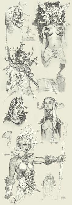 Medusa sketches by Scebiqu.deviantart.com on @DeviantArt