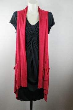 Size 10 S Ladies Black Knot Fitted Dress Red Cardigan Set Business Office Design