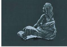 Dibujo realizado en papel de grano grueso de color, con carboncillo y creta blanca.  Autor Pedro Palazon Yepes.