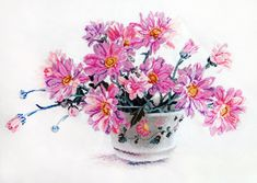 Вышивка «Букет хризантем» | Скачать схему бесплатно