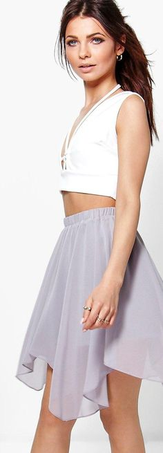 Neve Chiffon High Low Hem Mini Skirt - Skirts  - Street Style, Fashion Looks And Outfit Ideas For Spring And Summer 2017