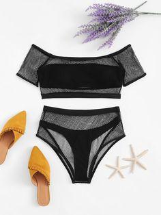 Product name: Off the Shoulder Fishnet Overlay Bikini Set at SHEIN, Catego. Product name: Off the Shoulder Fishnet Overlay Bikini Set at SHEIN, Category: Bikinis Bikini Set, Bikini Bandeau, Vs Bikini, High Cut Bikini, Bikini Swimwear, Swimsuits, Black Bikini, Lingerie, Baby Girl Outfits