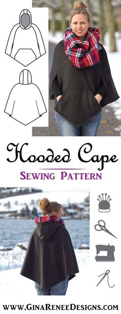 Chic and Classy! Women's Hooded Cape Sewing Pattern by Gina Renee Designs