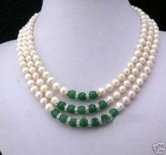 3rows 7-8mm Blancas Akoya Perlas Verdes Y Collar De Jade in Artesanías, Cuentas y fabricación de joyas, Cuentas, perlas y bisuterías | eBay