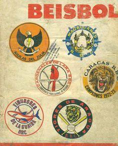 logos de los 6 equipos del Beisbol Venezolano en los años 70s