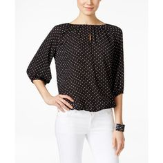 Vince Camuto Polka-Dot Peasant Blouse ($40) ❤ liked on Polyvore featuring tops, blouses, rich black, vince camuto tops, polka dot tops, peasant blouses, peasant tops and vince camuto blouses
