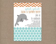 Custom Printable Dolphin Birthday Party Invitation. $10.00, via Etsy.