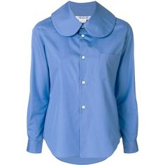 Comme Des Garçons Comme Des peter pan collar shirt (1.060 RON) ❤ liked on Polyvore featuring tops, blue, blue shirt, shirt top, comme des garcons shirt, peter pan collar top and peter pan shirt