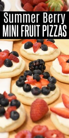 These red white & blue mini fruit pizzas are bursting with summer berry flavor! Sugar cookies topped with cream cheese icing & delicious berries! Perfect for the 4th, Memorial Day, or any picnic! Delicious Cookie Recipes, Yummy Cookies, Oatmeal Cookies, Chocolate Chip Cookies, Peanut Butter Cookies, Sugar Cookies, Family Recipes, Family Meals, No Bake Desserts