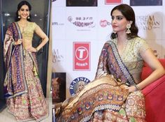 KUTCH AS COUTURE! Sonam Kapoor is deliciously delightful in Abu Jani Sandeep Khosla! For the promotion of her upcoming film, the indisputable Rani of Style wore a silver grey, satin silk, ghagra from their THARAD Collection. The skirt is adorned with multicoloured resham and abla embroidery. Tharad is an Ode to the traditional thread embroidery technique indigenous to the Tharad region in Gujarat. The ghagra is paired with a skin net blouse accented in mirror, zardozi and sequins.