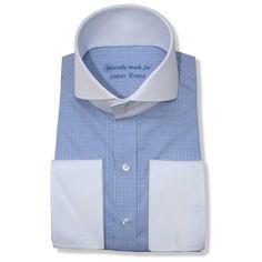 High Collar Italian Blue-Checks - John Clothier Italian Blue Checks | Open Collar Shirt, High Collar Shirts, Red Gingham, Gingham Check, Plain White Shirt, Cotton Shirts For Men, Blue Check, Collar Styles, Vintage Shirts