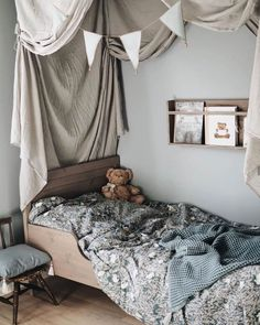 Little room we love. A beautiful universe of sweetness created by Our Numero 74 flag bunting is proving to be super popular (available in pink, blue & beige), online now ♡ . Bed Drapes, Scandinavian Kids Rooms, Bedroom Photos, Kids Decor, Home Decor, Baby Room Decor, Kidsroom, Kid Beds, Interior Design Inspiration