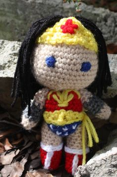 Crocheted Pocket Wonder Woman 7.5 in. by OttersCrafts on Etsy, $20.00