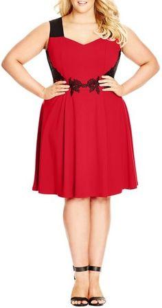 "City Chic 'Summer Splice' Fit & Flare Dress (Plus Size) Plus Size Dress Women, rot, red, Plus Size Dresses #plussize #dresses #dress #kleider #kleid #fashion #mode #lifestyle #trendy - ""Grössere Grössen"". Atemberaubende Abendkleider. Amazing dresses for the evening, for cocktail partys..."