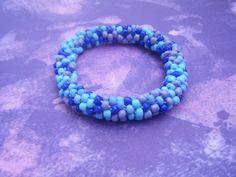 Purple-Blue Crocheted Bracelet by AurosCrafts on Etsy