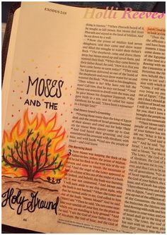 The burning bush exodus 3 Bible Verse Art, Scripture Study, Bible Scriptures, Bible Drawing, Bible Doodling, Bible Study Tips, Bible Study Journal, Exodus Bible, Exodus 3