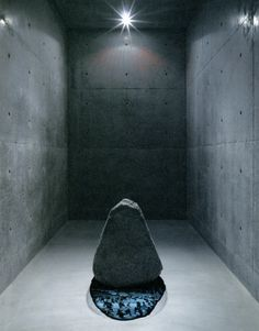 Lee Ufan, Relatum -Shadow of Stone, 2010, Installation at Lee Ufan Museum in Naoshima. Stone: 55 x 65 x 66 cm; Shadow part : 109 x 58 cm