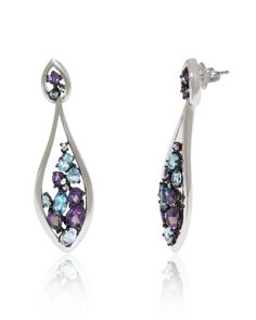 Unique shaped 18k white gold dangling earrings randomly set with Blue Topaz, Amethyst (3.8 ct) and Diamonds (0.08 ct).