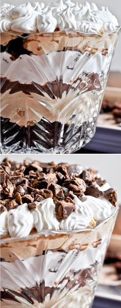 Chocolate Peanut Butter Fudge Brownie Trifle