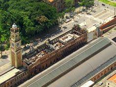Estação da Luz ganhará cobertura provisória após incêndio no Museu da Língua Portuguesa, em São Paulo (Foto: Reprodução TV Globo)