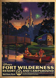 Walt Disney World Hotels and Resort Posters - Fort Wilderness Disney World Hotels, Disney World Resorts, Disney Vacations, Disney Trips, Disney Parks, Orlando Disney, Family Vacations, Cruise Vacation, Vacation Destinations