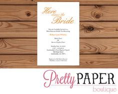 Wedding Shower Invitation - Here Comes the Bride - Printable / Digital