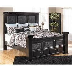 Cavallino King Mansion Poster Bed With Storage Footboard By Signature Design By…