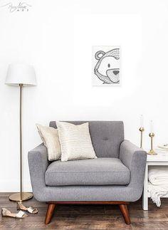 Stylish Black and White Bear Face Wall Art Print from Woodland to a Modern Minimalist Nursery Decor Rustic Nature Art