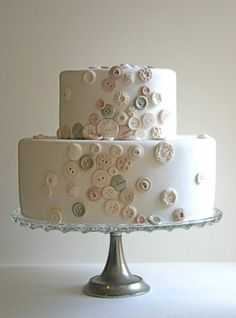 For #Charlotte who loves buttons! Edible Vintage Candy Buttons on Wedding Cake by Andie's by andiespecialtysweets, $150.00