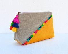 Gelbe Farbe Block, Leinen Samttasche, Boho Tasche, Clutch-Tasche, bestickt, 9X6X3inches