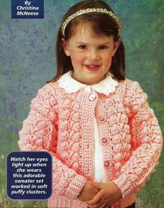Crochet Pattern for a GIRL'S CORAL CLUSTERS SWEATER