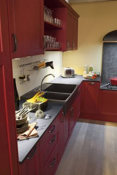 Belle association de couleurs pour cette cuisine.