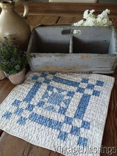 """Prim Country! Antique 1880s Blue & White Doll or Table Quilt 13"""""""