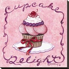 Cupcake Delight Stretched Canvas Print by Janet Kruskamp at Art.com