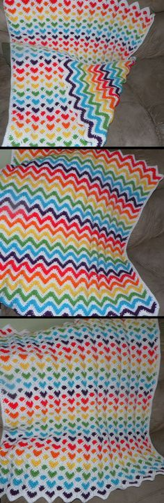 Crocheted hearts and ripples - hearts on one side and ripples on the other. There's no pattern here but this is another that I'd like to figure or find a pattern for.