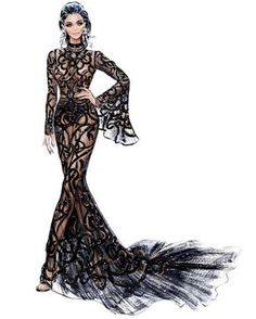 Fashion illustration at its best. From Haute Couture to the cat walk, from catalogue to off the shelf. Fashion Design Drawings, Fashion Sketches, Drawing Fashion, Moda Fashion, Fashion Art, Fashion Spring, Trendy Fashion, Nordstrom, Fashion Illustration Dresses