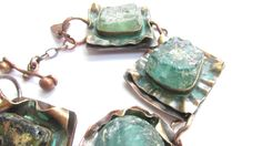 Ancient Roman Glass Bracelet, Blue, Jewelry, Green,  Iridescent Glass, Copper, Brass, Verdigris, Gift for Her, Girlfriend Gift, Anniversary  by ReawakenedTreasure on Etsy
