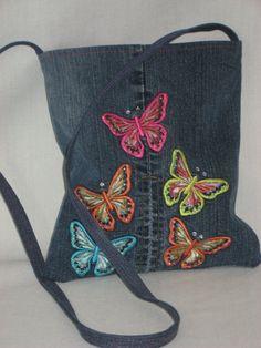 Repurposed Jeans Small Shoulder Purse Jean BAG by BAGSbyMartha, $22.50