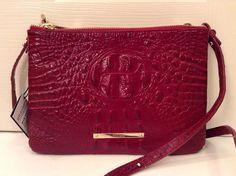 Brahmin Perri Crossbody Carmine Red Croco Melbourne Leather | eBay