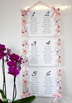 Ültetési rend, Esküvői Virágos Ültetésrend, Rózsás Virágos, Esküvő ültető kártya, rózsaszín, Party, Esküvő, Naptár, képeslap, album, Meghívó, ültetőkártya, köszönőajándék, Esküvői dekoráció, Meska